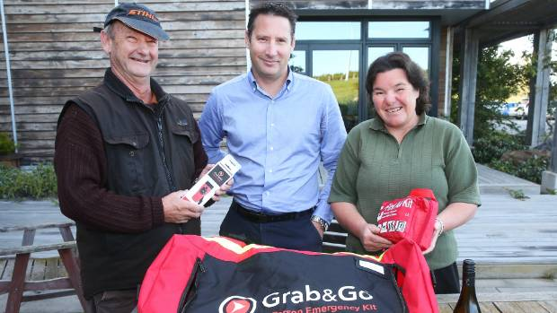 Seddon residents Mike Uren, left, wife Robyn Uren and Yealands Wine Group chief operating officer Michael Wentworth with ...