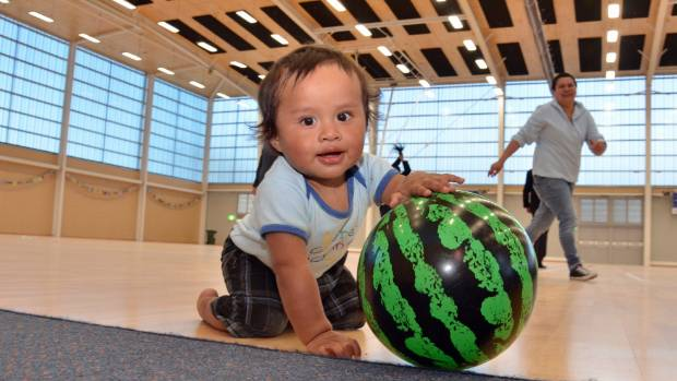 He was only 14 months old but Ryan Haerewa-Puka checked out the sprung beech floor of the $12 million Walter Nash Centre ...