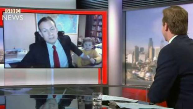 Professor Robert Kelly is interrupted by his daughter while filming a live interview with the BBC.