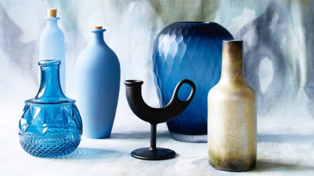 Koh textured glass vase $31.75 from Republic, republichome.com; Santorini High Powder Blue and Oval Powder Blue bottles ...