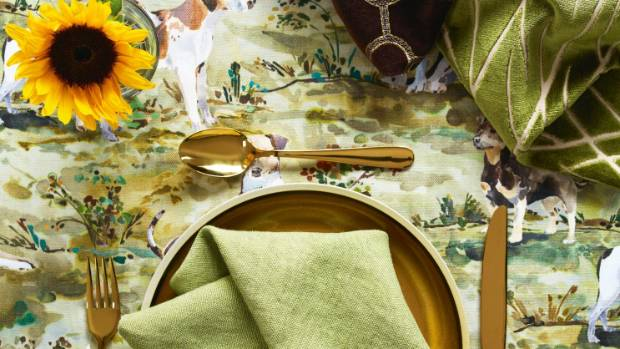 Mulberry Hounds in Multi as tablecloth, from top Candice Olson for Kravet in 30091.6, Bunny Williams for Lee Jofa ...