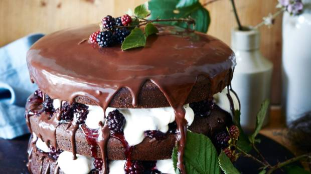 Berries and chocolate are hero ingredients of this cake.