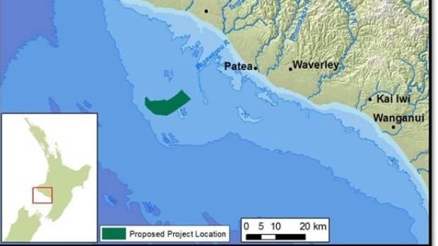 The 66 square kilometres off the South Taranaki coast where Trans Tasman Resources have applied to mine iron ore.