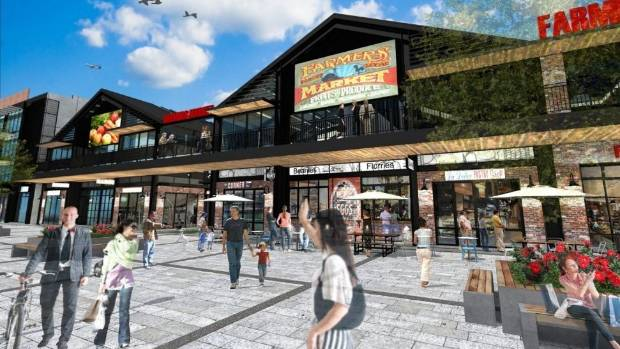 The $80 million complex of five buildings will include shops, restaurants, offices and farmers market.