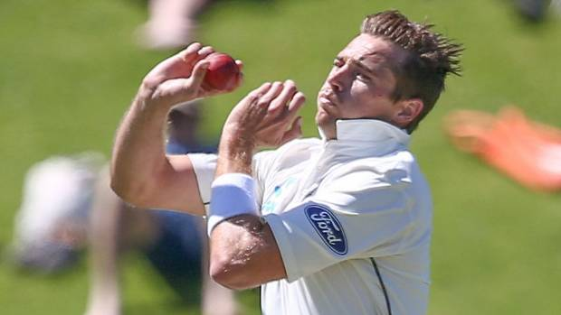 Tim Southee of New Zealand bowls.