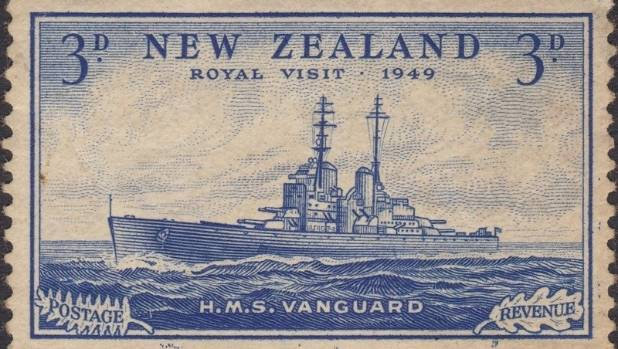 The threepenny HMS Vanguard stamp from 1949, which set a new world record of $67,850 at auction in Otaki last weekend.