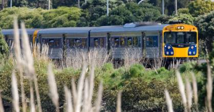 An ADK  diesel multiple unit (DMU) train, Auckland, New Zealand, Tuesday, September 15, 2009.  Credit: NZPA / David Rowland.
