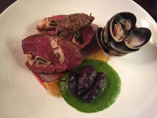 Aberdeen on Broadway Ave is serving Angus Pure eye fillet stuffed with bluff oysters, muttonbird rillet, steamed ...