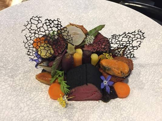 Feilding restaurant Amayjen are serving wild fallow with blue mussels, black garlic puree and bees was sous-vide carrots.