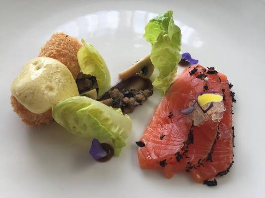 Jimmy Cook's is the only restaurant serving an entree. Diners can get cured salmon served with mushrooms three ways, and ...