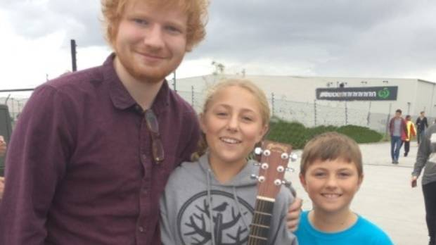 Ed Sheeran with siblings Brody and Ben Glanfield, in Auckland.