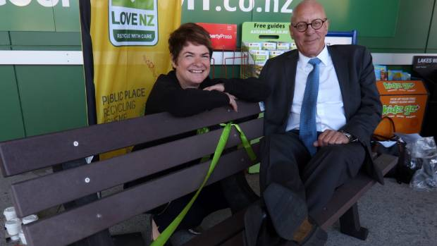 Queenstown Lakes Mayor Jim Boult tests a park bench made of 16,000 recycled plastic bags after launching the soft ...
