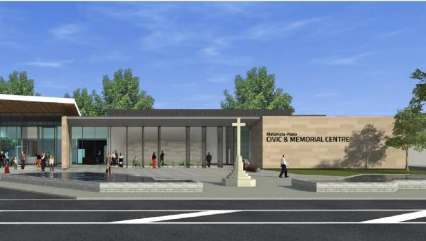 An artist's impression of the new Matamata Civic and memorial Centre released in December, shows no place for a water ...