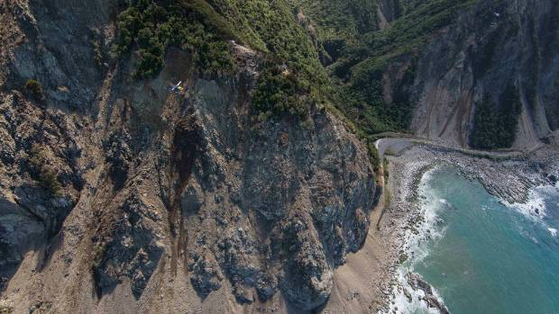 The slip at Ohau Point after the quake, where an estimated 110,000 cubic metres of rock and debris came down across the ...