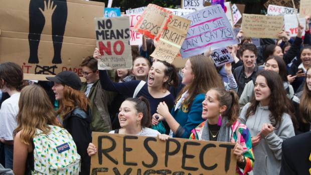 Hundreds turned up to a protest at Parliament   against rape culture.