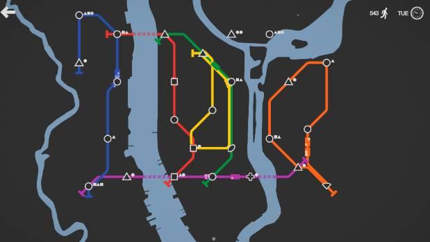 A screenshot of Mini Metro.