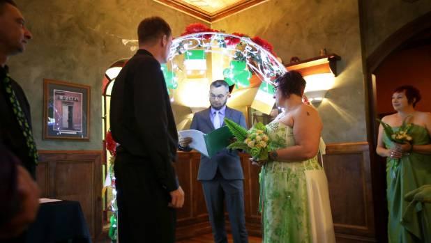 Television and talkback radio personality Marcus Lush marries Irishman Chris Smyth and Andi Taylor at Waxy O'Shea's ...