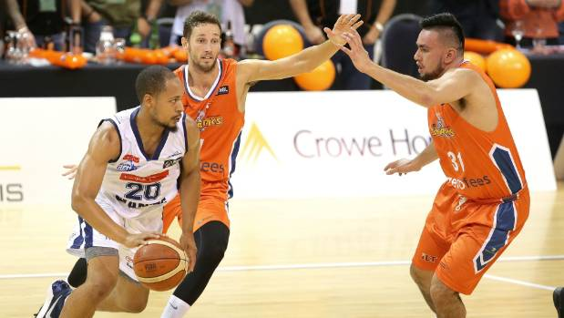 Nelson Giants import Joe Slocum, left, scored a paltry 15 points in his first three games in the NBL.