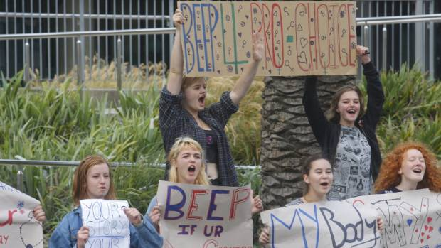 Pupils from Wellington High School protest outside Wellington Hospital in support of women wishing to have abortions.