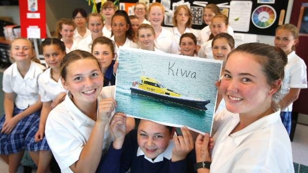 Timaru Girls' High School year 9 art students Chelsea Greenall, left, Arianna George and Sophie Gardyne, along with ...