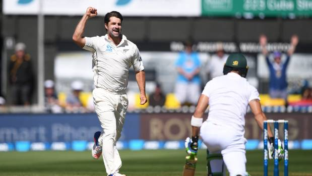 Colin de Grandhomme celebrates the wicket of Faf du Plessis on day two of the second test in Wellington.