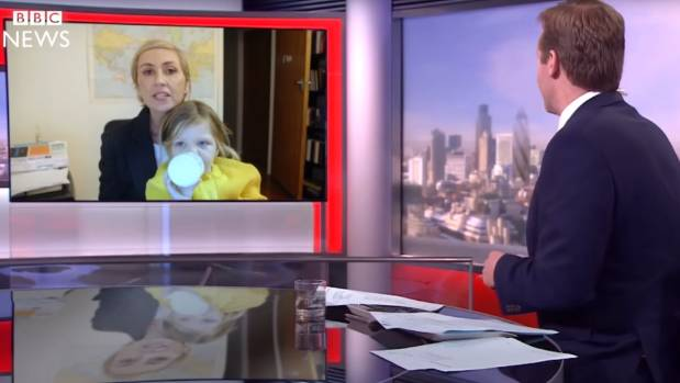 Renee Lyons has fun with a spoof of the BBC interview gatecrashed by expert commentator Robert Kelly's children.