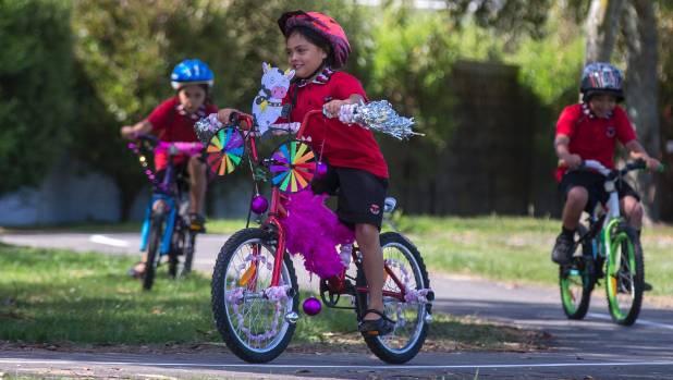 Nevaeh Waaka, 6, decorated her bike for the launch of the new bike track at Te Kura o Takaro on Friday.