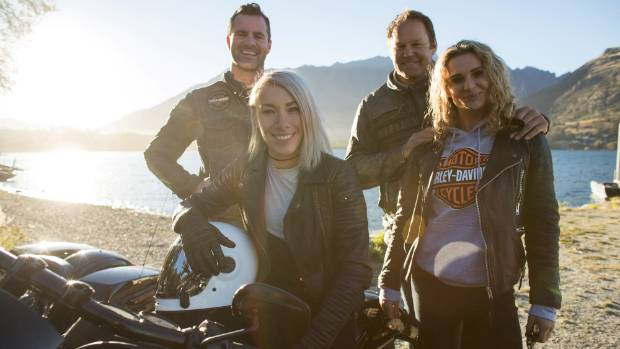 Harley-Davidson ambassadors Jay Reeve, Caroline Buchanan, Josh Kronfeld and Danielle Cormack who are in Queenstown with ...