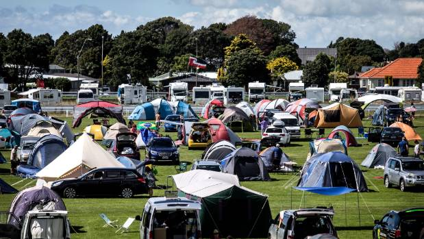 The camping area at Pukekura raceway quickly filled up on Friday.