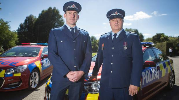 Constable Heath Cameron and Sergeant Mark Sandford received the Commissioner's Commendation Award at a pay parade in ...