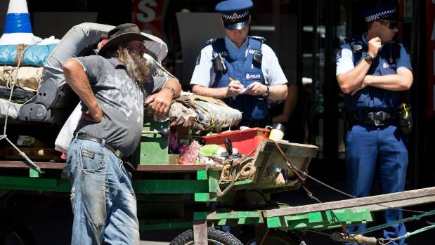 Stanton has had several brushes with the law during his self-styled protest in central Nelson.