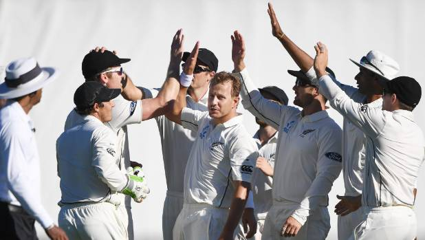 Neil Wagner and team mates celebrate the wicket of Temba Bavuma.