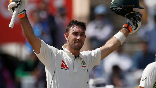 Glenn Maxwell celebrates making his maiden test ton, at Ranchi.