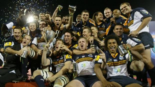 The Brumbies, who have won two Super Rugby titles, celebrate after their 2004 final victory over the Crusaders.