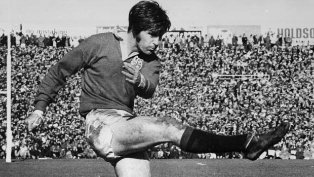 Lions No 10 Barry John kicks the ball against the All Blacks in Auckland in 1971.