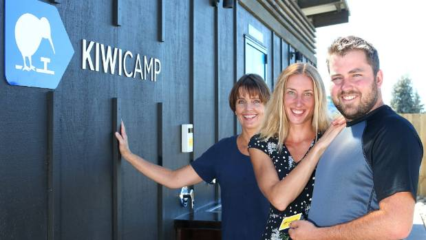 The KiwiCamp team, from left, Claire Barlow, Kamila Mlejnkova' and Chris Wagner are ready for their freedom camping ...