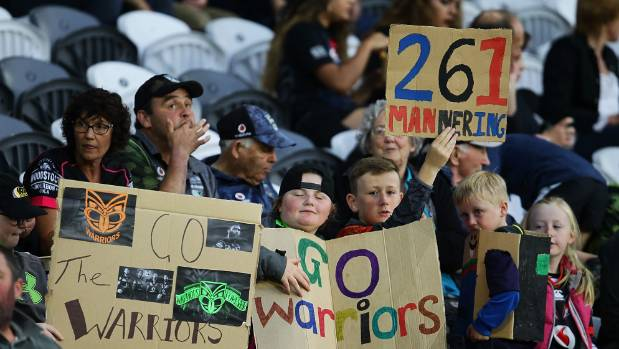 Warriors fans look on before the round three NRL match between the Bulldogs and the Warriors at Forsyth Barr Stadium in ...
