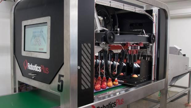 A robotic apple packer developed by Robotics Plus.