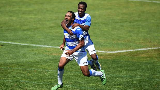 Tasman player Tinashe Marowa celebrates with Paul Ifill after he scores four goals against Southern.