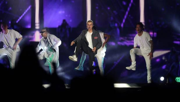 Justin Bieber with his backing dancers at Mt Smart Stadium on Saturday night.