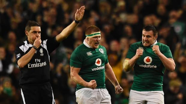 The referee blows the whistle at full time as Ireland beat England 13-9.