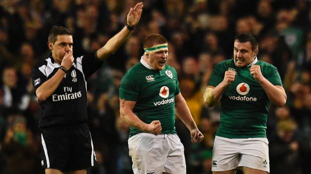 The referee blows the whistle at full-time as Ireland beat England 13-9.