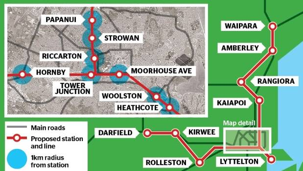 A map of the proposed Christchurch commuter train network.