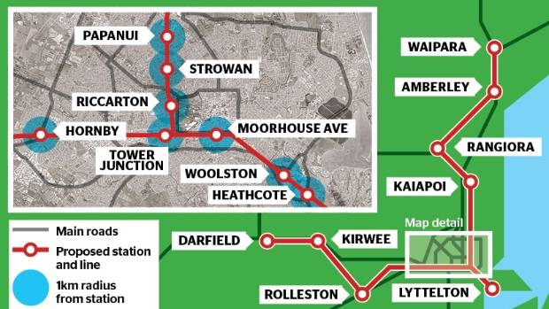 A map of the proposed Christchurch commuter train network, scrapped by the Greater Christchurch Public Transport Joint ...