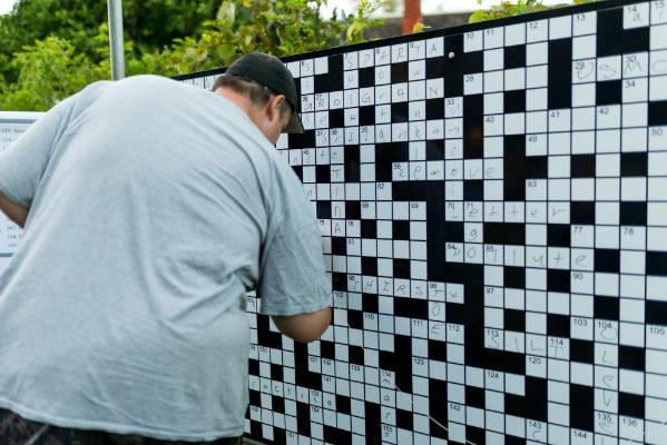Giant crosswords were available for people to complete.