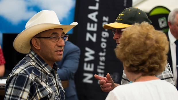 New Zealand First deputy leader Ron Mark talks to people attending Field Days in Feilding.