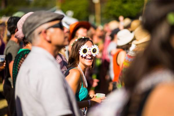 American Tourist Brittany Baker was getting into WOMAD on sunday, sunflower sunglasses and all.