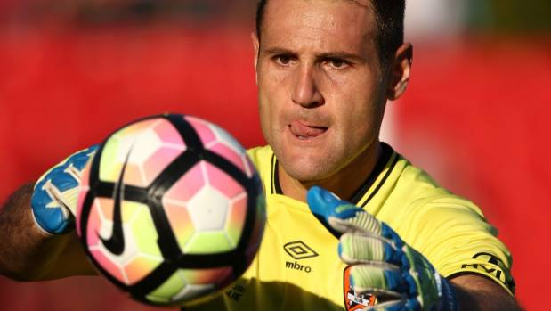 Brisbane Roar goalkeeper Michael Theo was given a controversial late red card in a spiteful clash.