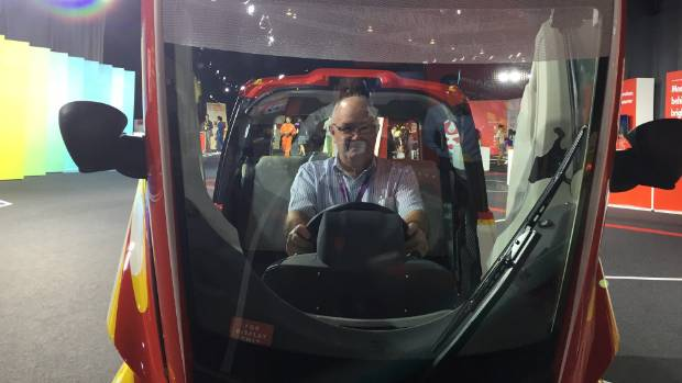 Fairfax journalist Rob Maetzig pictured inside the Shell Concept Car