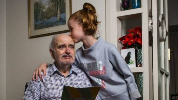 Grandfather James Bradley, 92, and his granddaughter Karis Town, 9, at home in Australia.